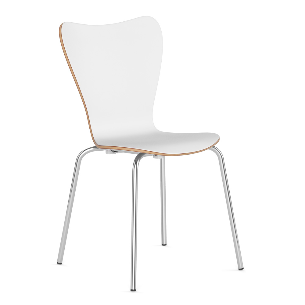 OfficeSource Bleecker Street Cafe Seating Collection Wood Stack Chair with Chrome Base