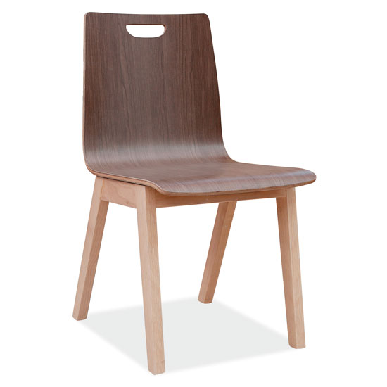 All Wood Guest Chair with Hole in Back and Light Wood Base
