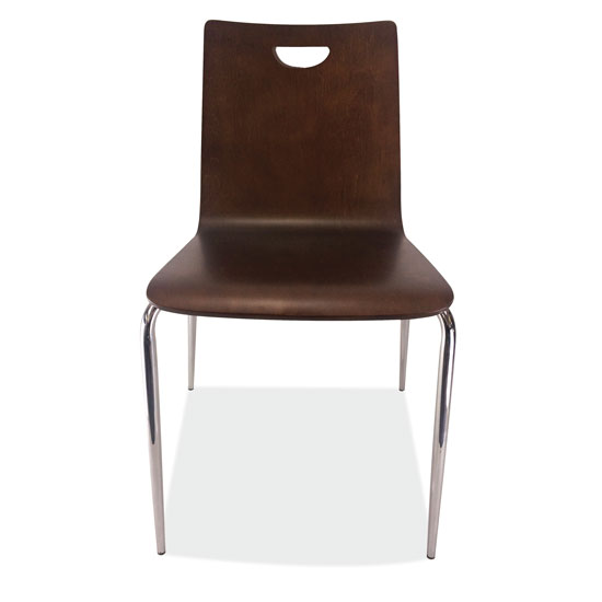 Wood Stack Chair, Hand Hole in Back with Chrome Base