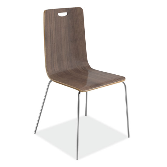 OfficeSource Bleecker Street Cafe Seating Collection Wood Stack Chair, Hand Hole in Back with Chrome Base