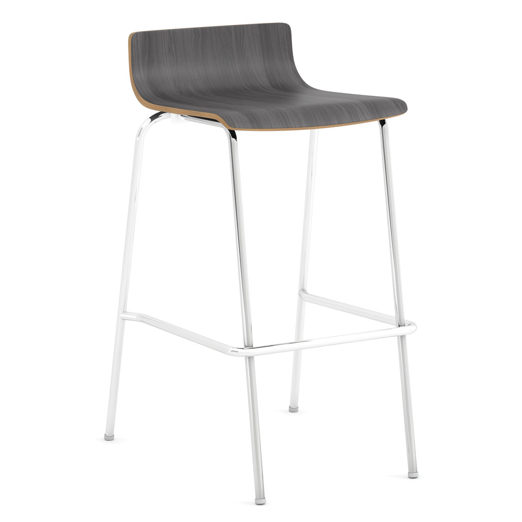 OfficeSource Bleecker Street Cafe Seating Collection Cafe Height, Low Back Wood Stool with Chrome Base