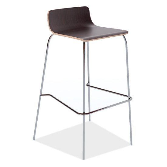 Cafe Height, Low Back Wood Stool with Chrome Base