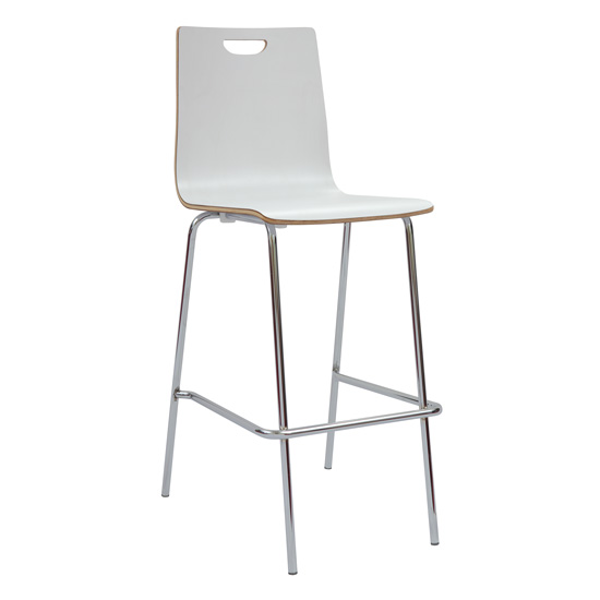 Cafe Height, High Back Wood Stool, Hand Hole in Back with Chrome Base