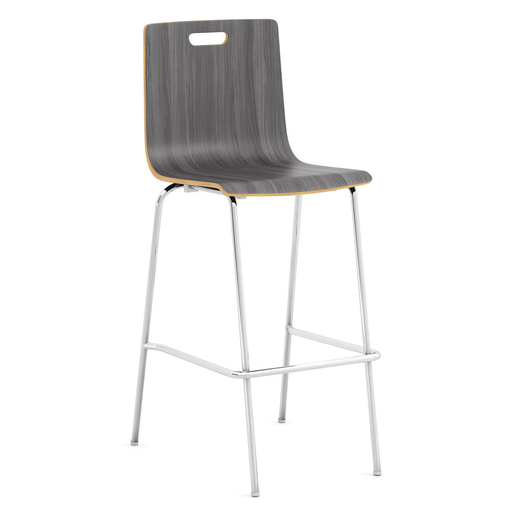 OfficeSource Bleecker Street Cafe Seating Collection Cafe Height, High Back Wood Stool, Hand Hole in Back with Chrome Base