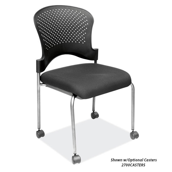Armless Guest Chair with Black Fabric Seat and Titanium Gray Frame