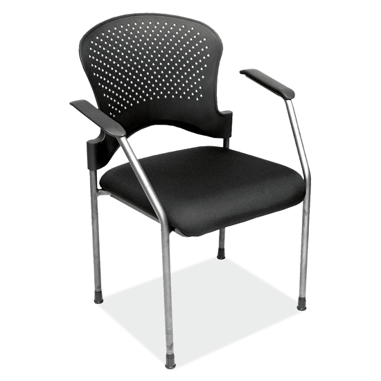 Guest Chair with Arms, Black Fabric Seat and Titanium Gray Frame
