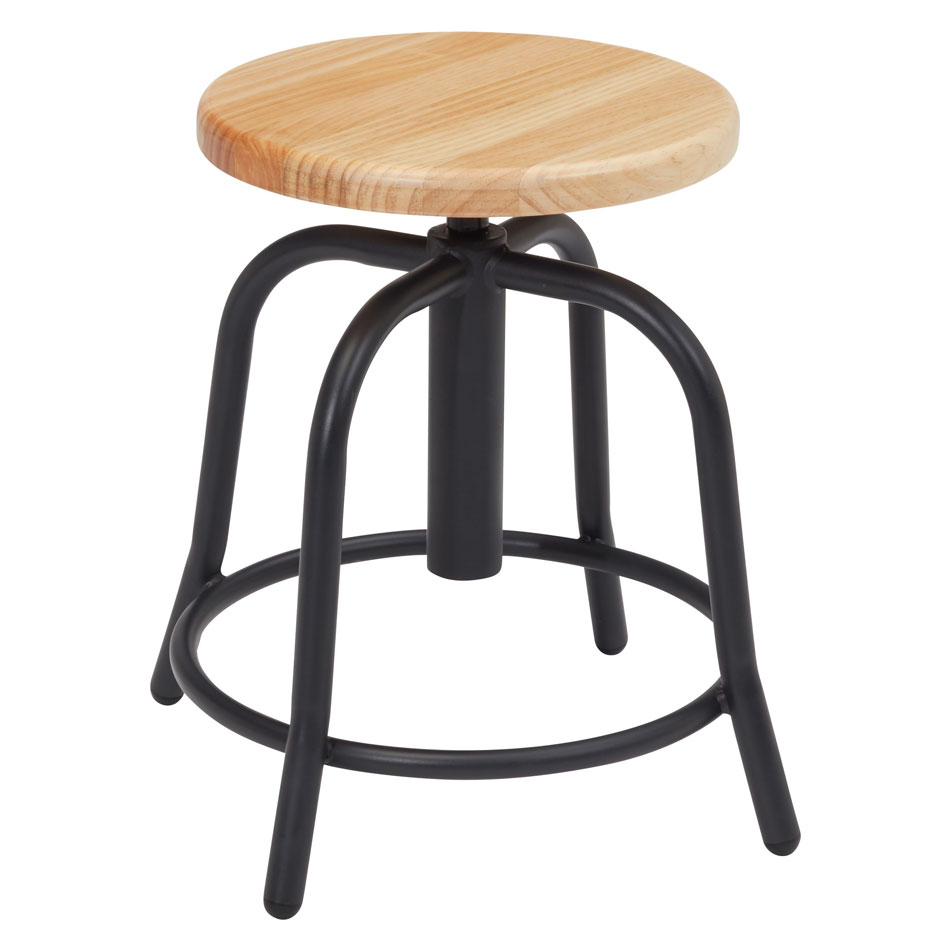 Adjustable Height Stool with Wood Seat and Gray Base