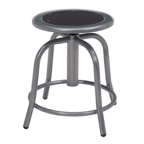 Adjustable Height Stool with Steel Seat and Gray Base