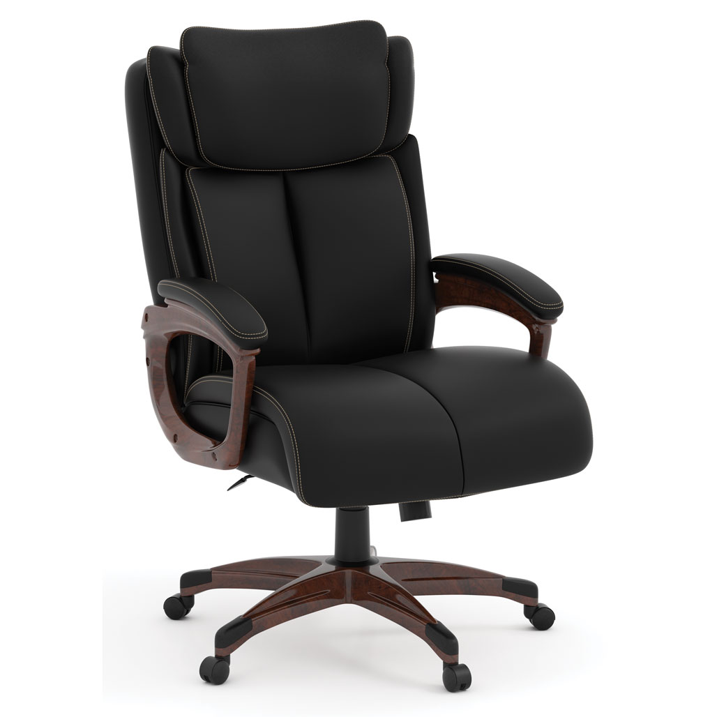 OfficeSource Charleston Collection Executive High Back with Plastic Wooden Arms and Base