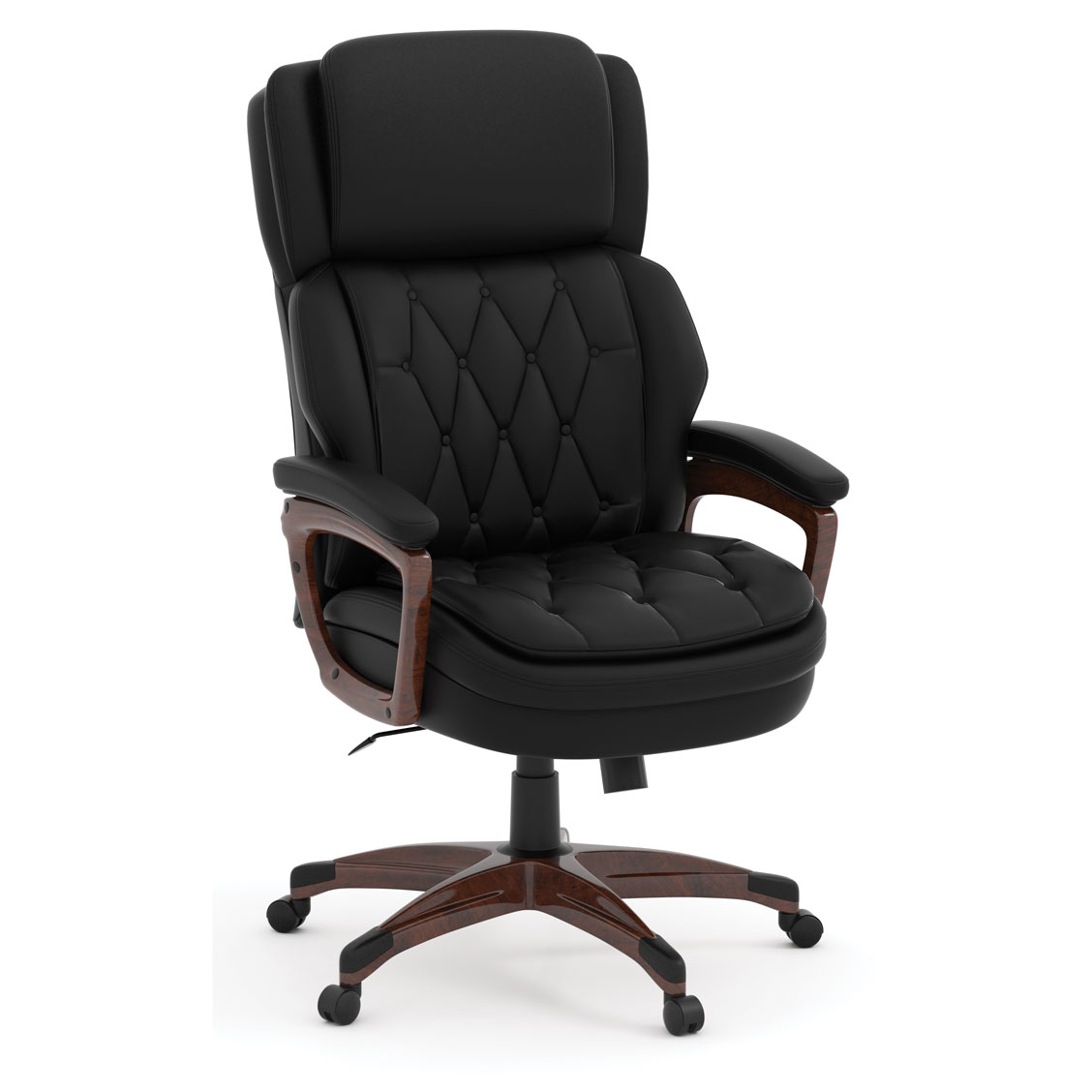 OfficeSource Charleston Collection Executive High Back, Tufted Seat and Back with Plastic Wooden Arms and Base