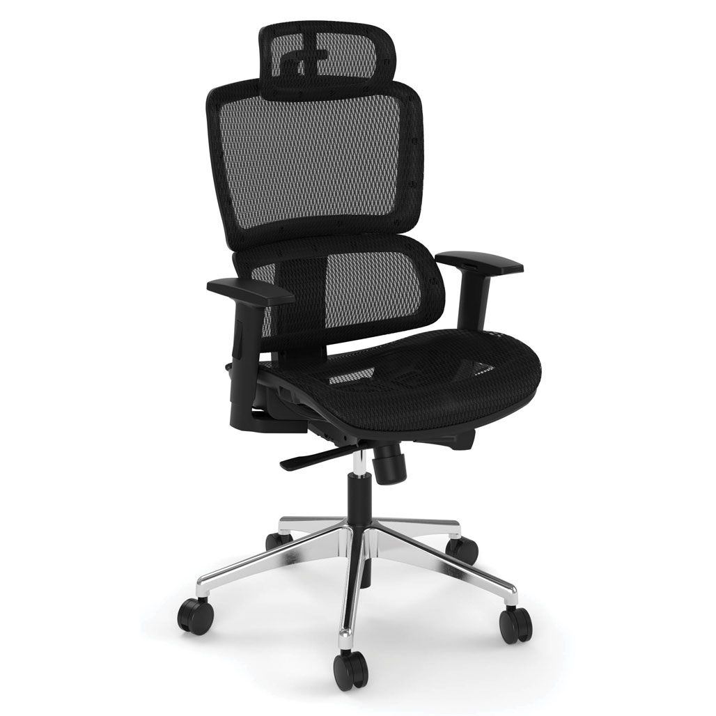 OfficeSource Clever Collection All Mesh High Back Chair with Headrest and Aluminum Base