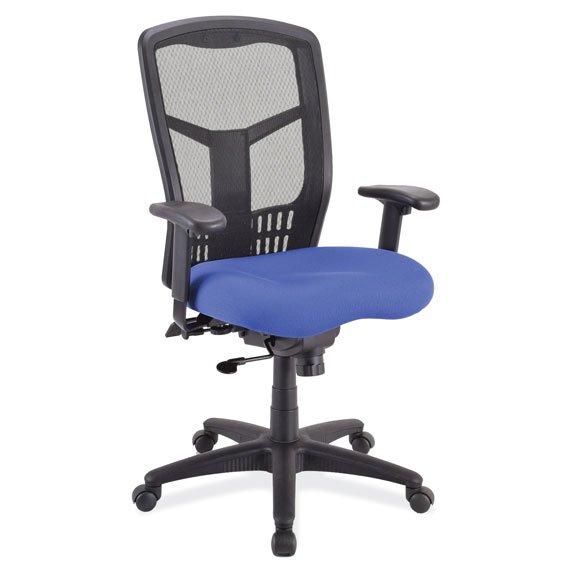 OfficeSource CoolMesh Collection Synchro, High Back Mesh Chair with Seat Slider, Upholstered Seat and Black Frame