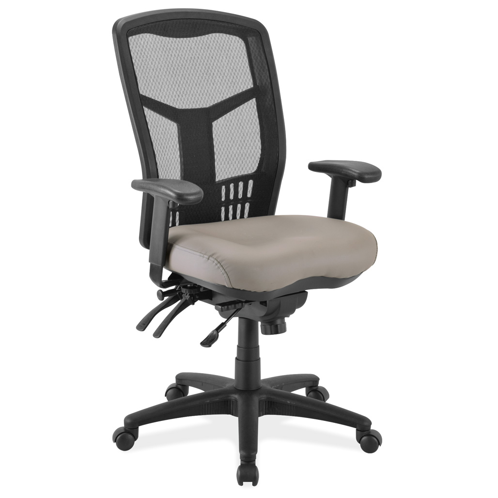 OfficeSource CoolMesh Collection Multi-Function, High Back Mesh Back Chair with Antimicrobial Upholstered Seat and Black Frame