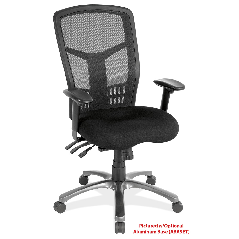 Multi-Function, High Back Chair with Seat Slider, Standard Black Base, Black Mesh Back and Adjustable Arms
