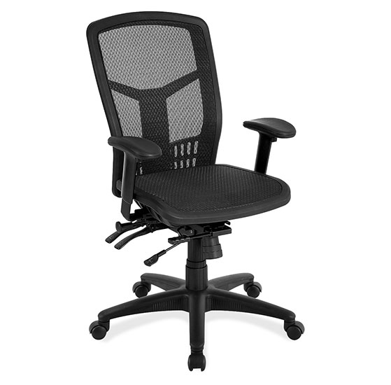 OfficeSource CoolMesh Collection All Mesh, Multi-Function, High Back Mesh Back Chair with Black Frame