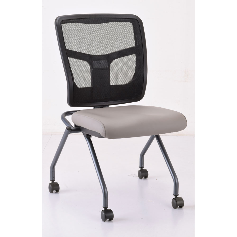 OfficeSource CoolMesh Collection Armless Nesting Chair with Titanium Gray Frame