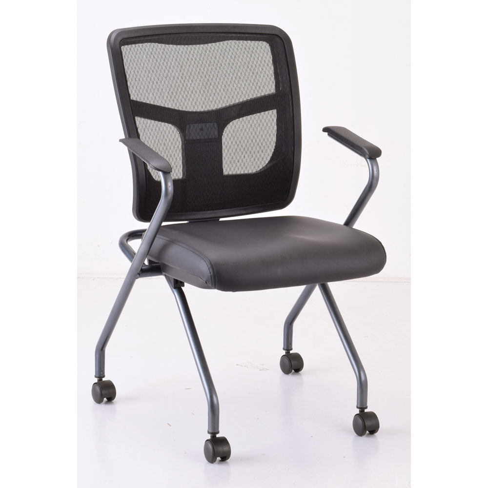 OfficeSource CoolMesh Collection Nesting Chair with Titanium Gray Frame