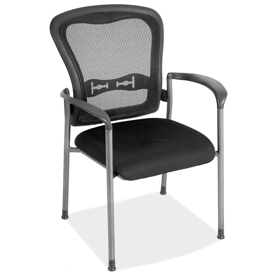 Mesh Back Guest Chair with Arms and Titanium Gray Frame