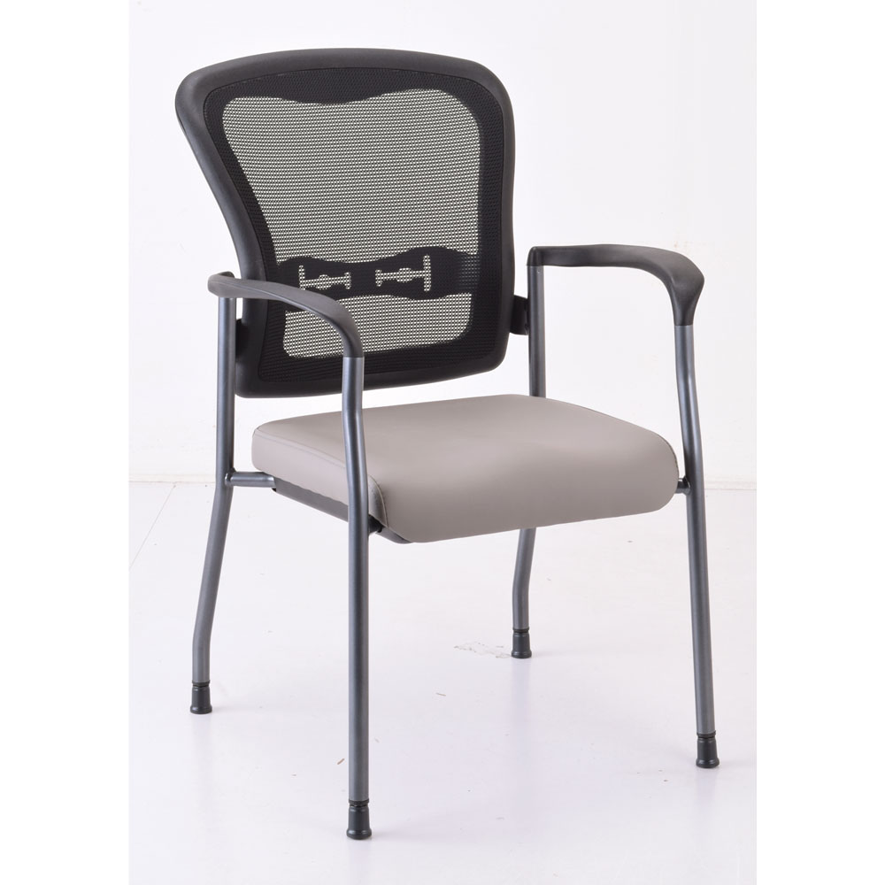 OfficeSource CoolMesh Collection Mesh Back Guest Chair with Arms and Titanium Gray Frame