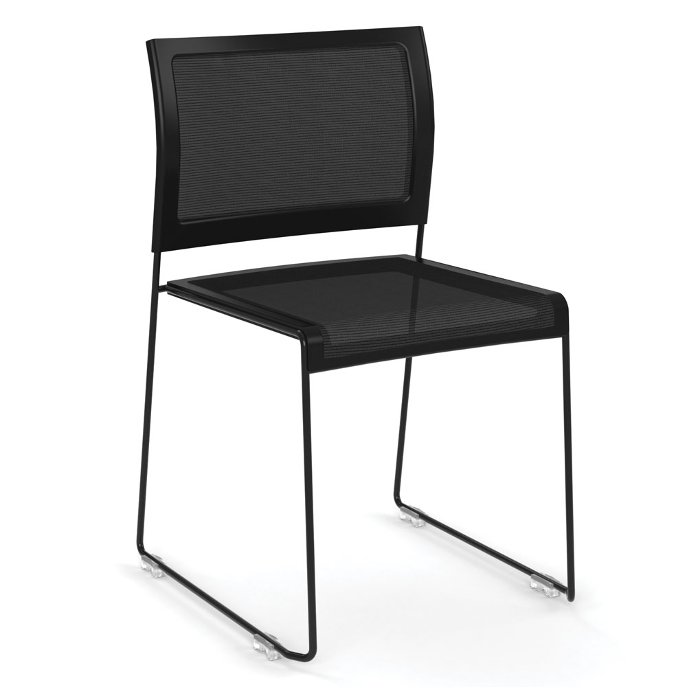 OfficeSource Color Stack Collection Mesh Stack Chair with Painted Frame
