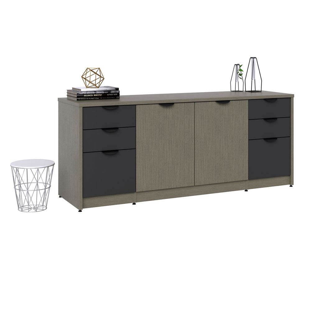 "Storage Credenza with Box and Dual File Storage, 2 Doors, File and Dual Box Storage – 29"" H"