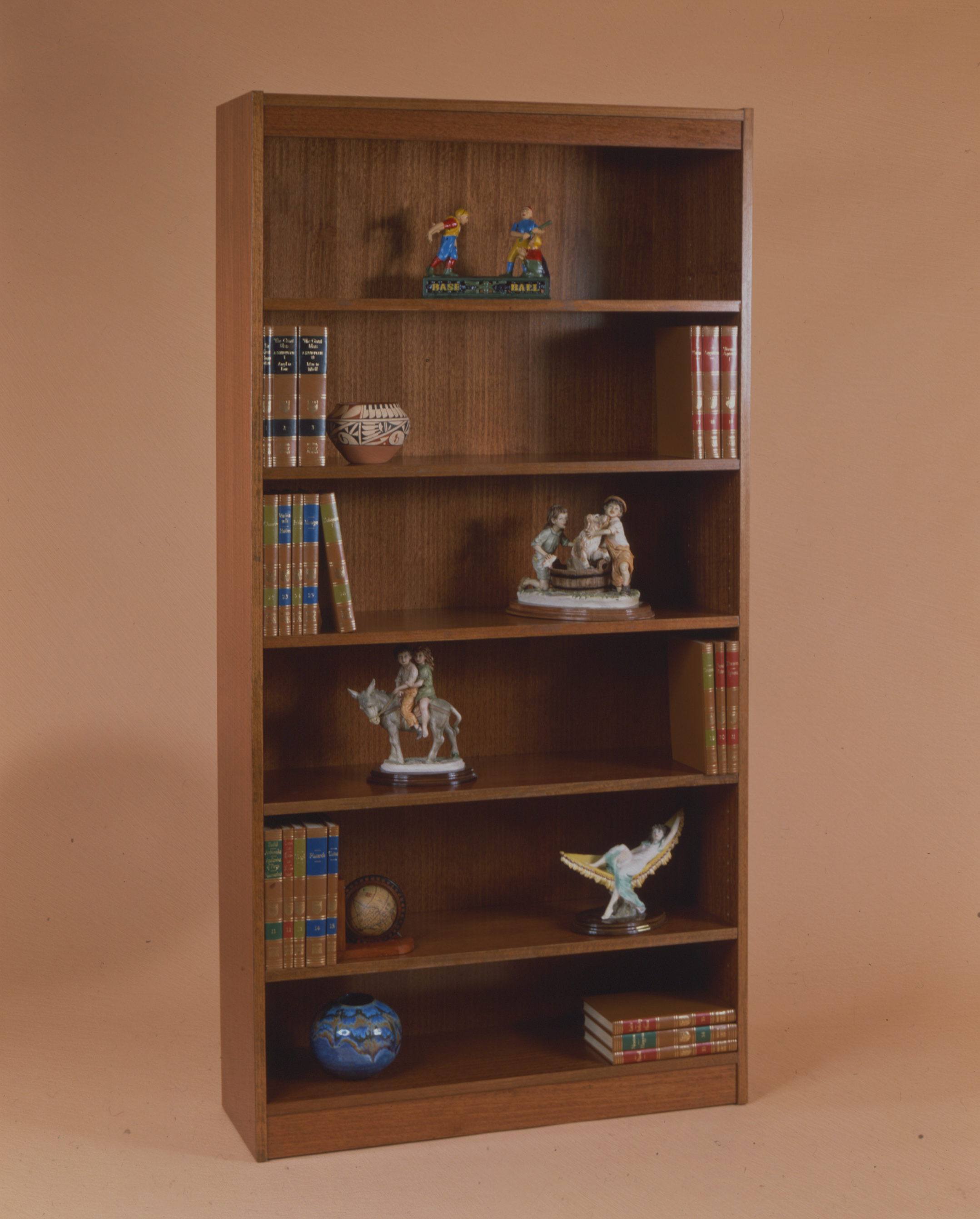 Contemporary 72''H Wood Veneer Bookcase