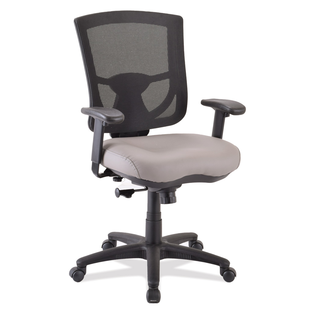 OfficeSource CoolMesh Pro Collection Mesh Back Task Chair with Antimicrobial Upholstered Seat, Adjustable Arms and Black Frame