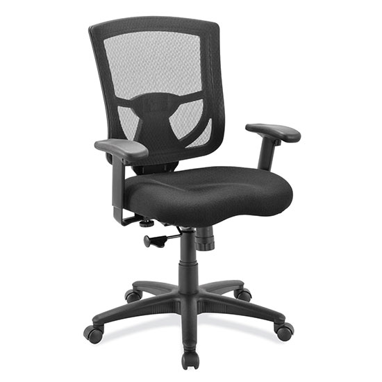 OfficeSource CoolMesh Pro Collection Mesh Back Task Chair with Upholstered Seat, Adjustable Arms and Black Frame