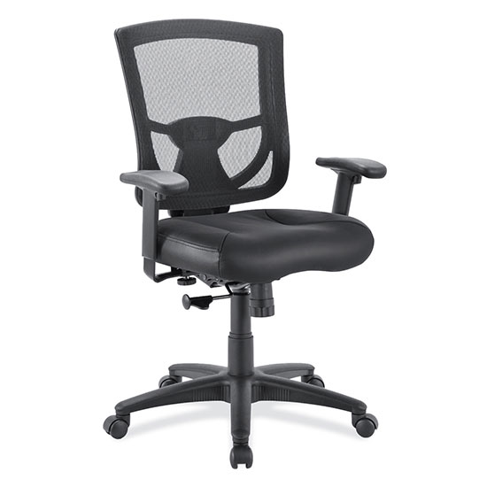 OfficeSource CoolMesh Pro Collection Mesh Back Task Chair with Leather Seat, Adjustable Arms and Black Frame