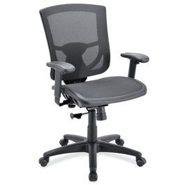 OfficeSource CoolMesh Pro Collection All Mesh Task Chair with Adjustable Arms and Black Frame