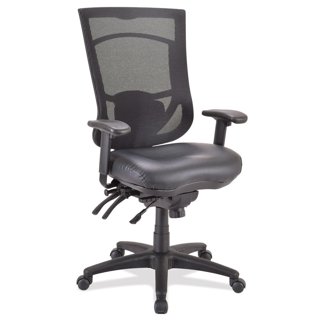 OfficeSource CoolMesh Pro Collection Multi-Function, High Back Chair with Antimicrobial Upholstered Seat, Adjustable Arms and Black Frame