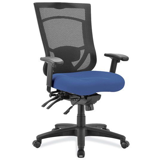 OfficeSource CoolMesh Pro Collection Multi-Function, High Back Chair with Upholstered Seat, Adjustable Arms and Black Frame