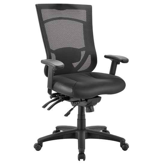 OfficeSource CoolMesh Pro Collection Multi-Function, High Back Chair with Leather Upholstered Seat, Adjustable Arms and Black Frame