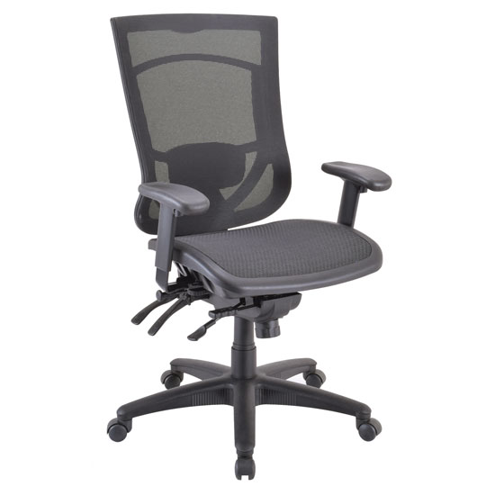 OfficeSource CoolMesh Pro Collection All Mesh, Multi-Function, High Back Chair with Adjustable Arms and Black Frame