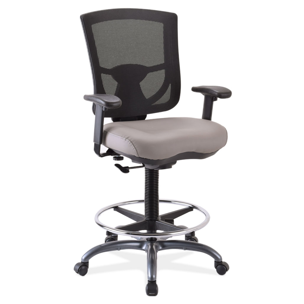OfficeSource CoolMesh Pro Collection Mesh Back Task Stool with Adjustable Arms, Antimicrobial Upholstered Seat, Footring and Black Frame