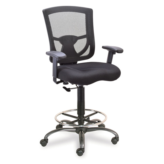 OfficeSource CoolMesh Pro Collection Mesh Back Task Stool with Adjustable Arms, Upholstered Seat, Footring and Black Base