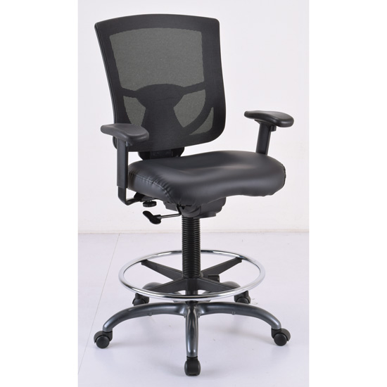 Mesh Back Task Stool with Adjustable Arms, Upholstered Seat, Footring and Black Base