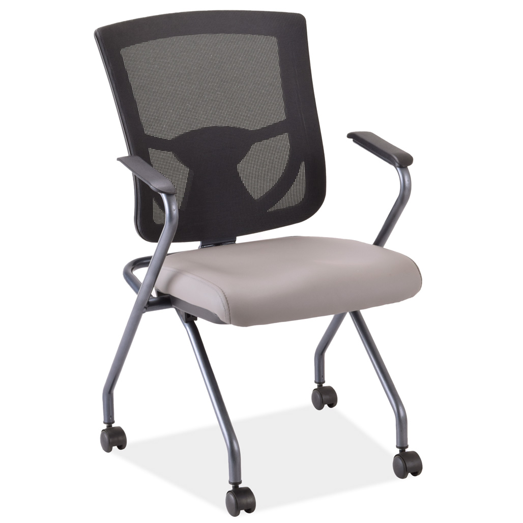 OfficeSource CoolMesh Pro Collection Mesh Back Nesting Chair with Antimicrobial Upholstered Seat and Titanium Frame