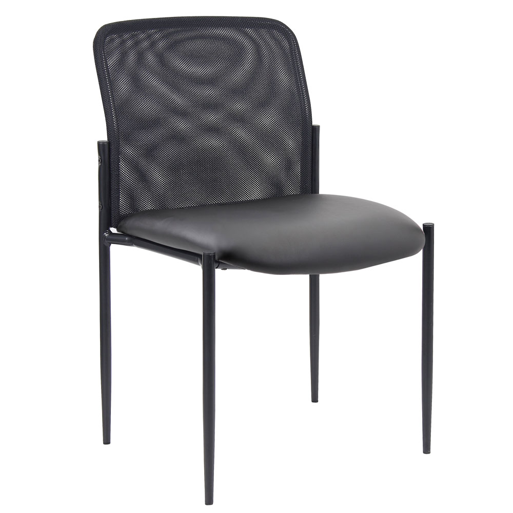Armless Side Chair with Black Frame
