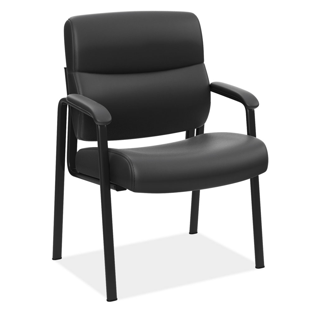 OfficeSource Ebony Collection Guest Chair With Black Frame