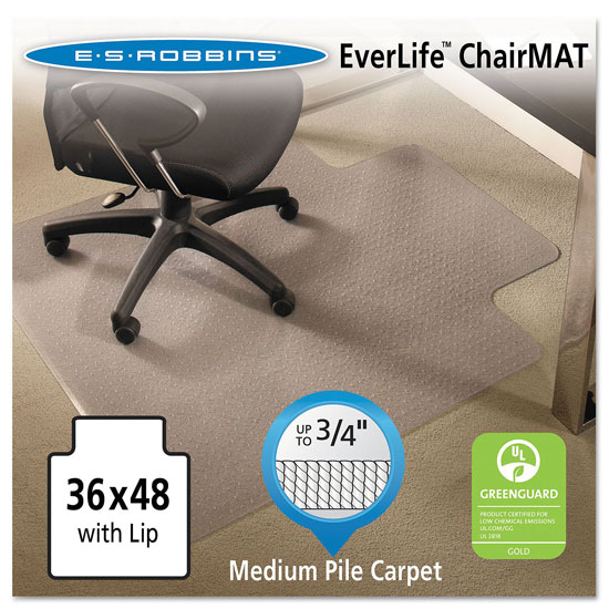 OfficeSource by ES Robbins Everlife Chairmats For Medium Pile Carpet Crystal Edge Chairmat