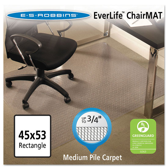 OfficeSource by ES Robbins Everlife Chairmats For Medium Pile Carpet Beveled-Edge Chairmat