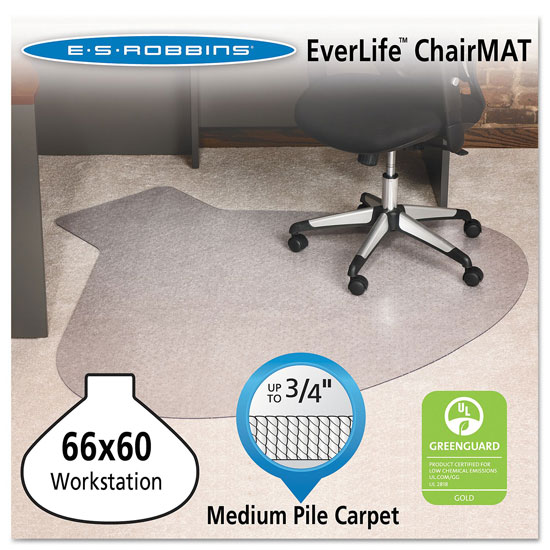 OfficeSource by ES Robbins Everlife Chairmats For Medium Pile Carpet Straight Edge Chairmat