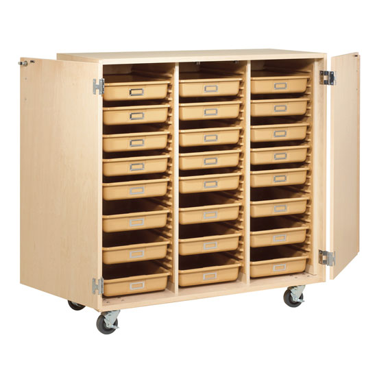 Mobile Tote Tray Cabinet with Doors