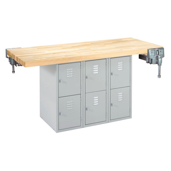 Two Station Steel Workbench with 2 Vises