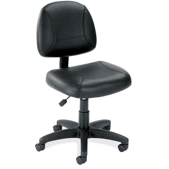 Black Leather Armless Deluxe Posture Chair with Black Frame