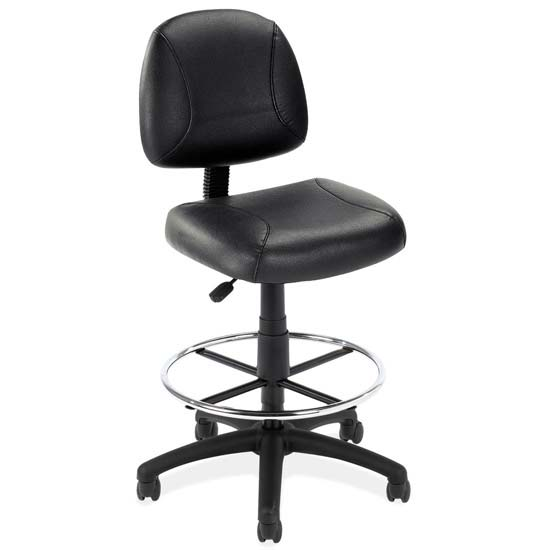 OfficeSource Effort Collection Black Leather Armless Deluxe Posture Chair with Black Frame