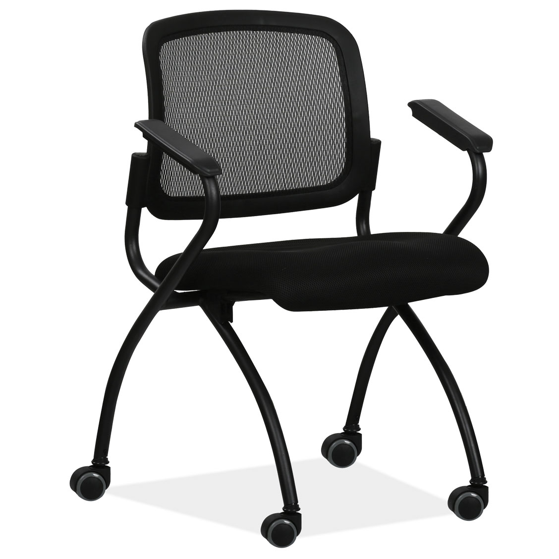 OfficeSource Encline Collection Nesting, Mesh Chair with Flip-Up Seat
