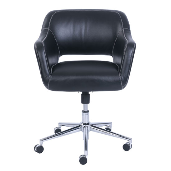 Mid Back Swivel Chair With Chrome Base Office Furniture