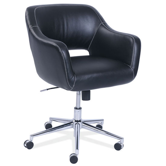 Amazing Mid Back Swivel Chair With Chrome Base Andrewgaddart Wooden Chair Designs For Living Room Andrewgaddartcom